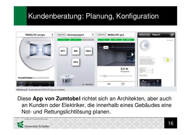 16Kundenberatung: Planung, KonfigurationDiese App von Zumtobel richtet sich an Architekten, aber auchan Kunden oder Elektr...