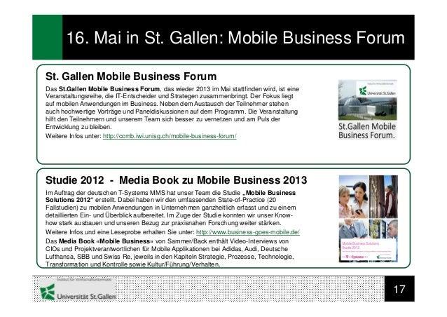 1716. Mai in St. Gallen: Mobile Business ForumSt. Gallen Mobile Business ForumDas St.Gallen Mobile Business Forum, das wie...