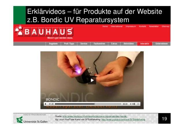 19Erklärvideos – für Produkte auf der Websitez.B. Bondic UV ReparatursystemQuelle: http://www.bauhaus.info/interaktiv/bauh...