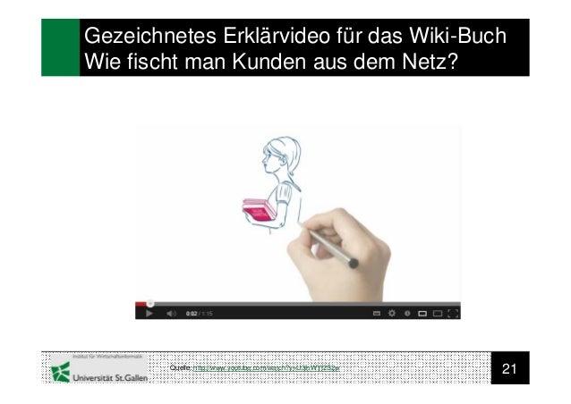 21Gezeichnetes Erklärvideo für das Wiki-BuchWie fischt man Kunden aus dem Netz?Quelle: http://www.youtube.com/watch?v=U3ih...