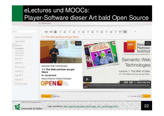 22eLectures und MOOCs:Player-Software dieser Art bald Open SourceLogin erforderlich: https://openhpi.de/videos/140?module_...