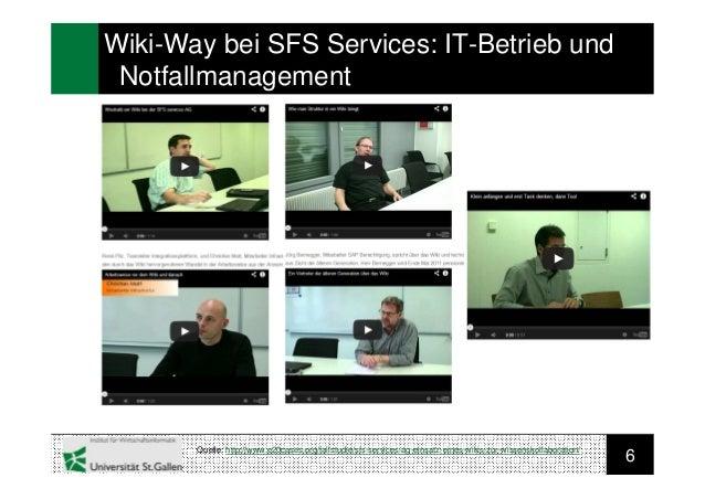 6Wiki-Way bei SFS Services: IT-Betrieb undNotfallmanagementQuelle: http://www.e20cases.org/fallstudie/sfs-services-ag-eins...