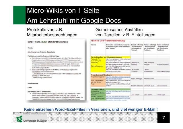 7Micro-Wikis von 1 SeiteAm Lehrstuhl mit Google DocsProtokolle von z.B.MitarbeiterbesprechungenGemeinsames Ausfüllenvon Ta...