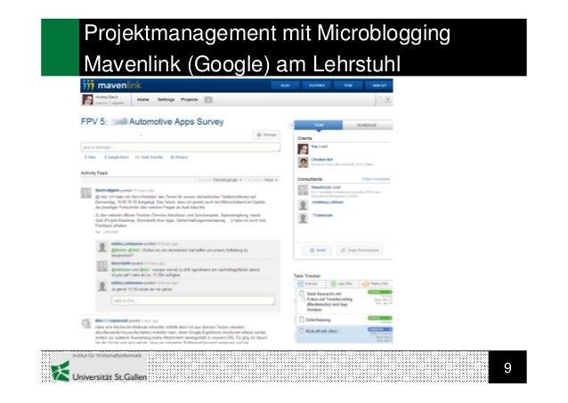 9Projektmanagement mit MicrobloggingMavenlink (Google) am Lehrstuhl