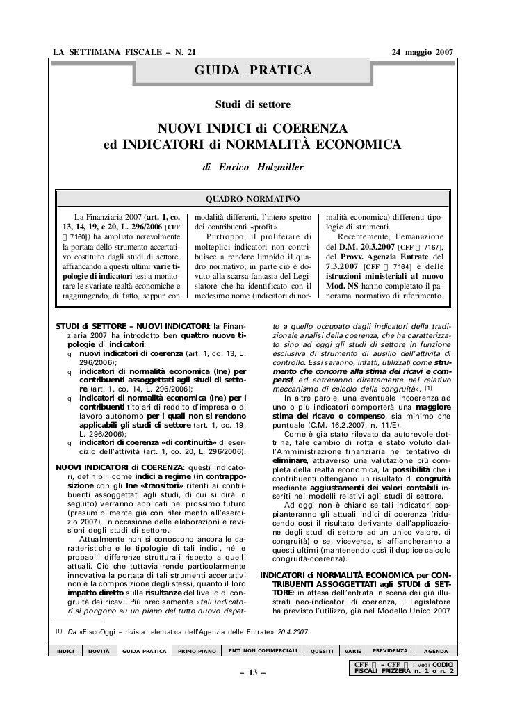 LA SETTIMANA FISCALE – N. 21                                                                              24 maggio 2007  ...