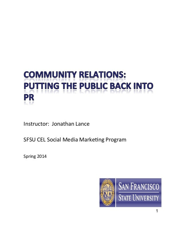 1 Instructor:	   	   Jonathan	   Lance	    	    SFSU	   CEL	   Social	   Media	   Marke:ng	   Program	    	    	    Spring...