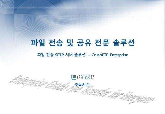 파일 전송 및 공유 전문 솔루션 파일 전송 SFTP 서버 솔루션 – CrushFTP Enterprise ㈜옥시즌