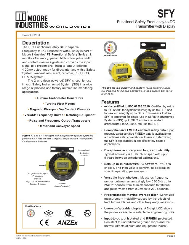 Functional Safety Frequency-to-DC Transmitter with Display SFY Page 1 The SFY installs quickly and easily in harsh conditi...