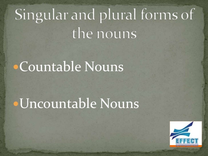 sg and pl forms of the nouns