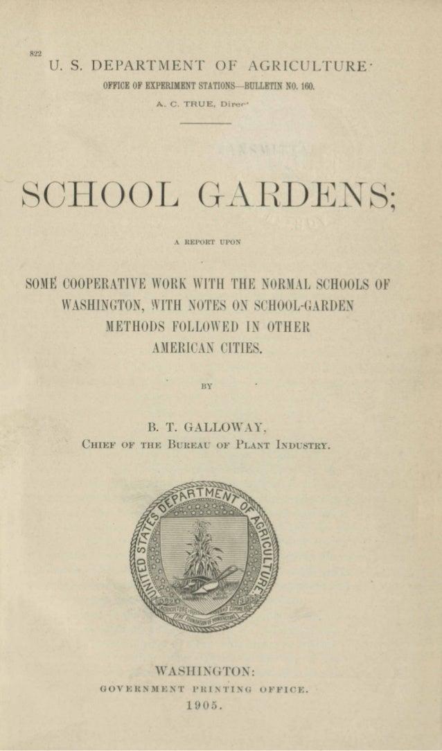 822 U. S. DEPARTMENT OF AGRICULTURE' OFFICE OF EXPERIMENT STATIONS-BULLETIN NO. 160. A. C. TRUE, Diree' SCHOOL GAI-<DE S',...