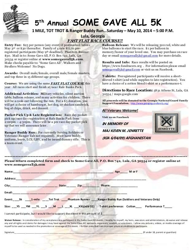 5th Annual SOME GAVE ALL 5K 1 MILE, TOT TROT & Ranger Buddy Run…Saturday – May 10, 2014 – 5:00 P.M. Lula, Georgia FAST FLA...