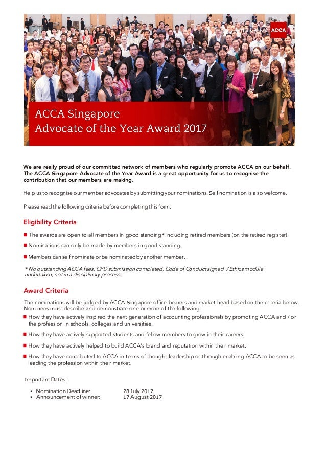 We are really proud of our committed network of members who regularly promote ACCA on our behalf. The ACCA Singapore Advoc...