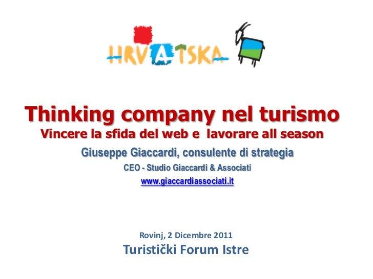 Thinking company nel turismo Vincere la sfida del web e lavorare all season       Giuseppe Giaccardi, consulente di strate...