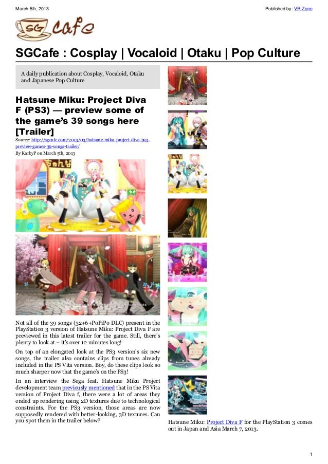 March 5th, 2013 Published by: VR-Zone 1 SGCafe : Cosplay   Vocaloid   Otaku   Pop Culture A daily publication about Cospla...
