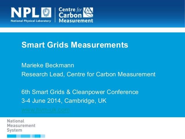 Smart Grids Measurements Marieke Beckmann Research Lead, Centre for Carbon Measurement 6th Smart Grids & Cleanpower Confer...
