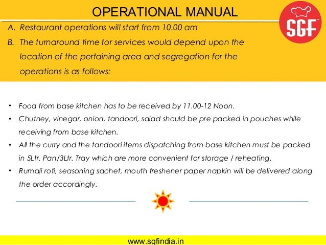Restaurant Kitchen Operations Manual sgf veg restaurant presentation