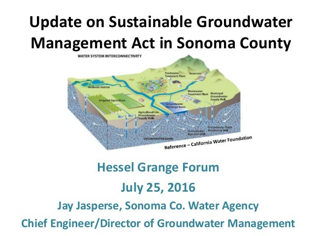 Hessel Grange Forum July 25, 2016 Jay Jasperse, Sonoma Co. Water Agency Chief Engineer/Director of Groundwater Management ...