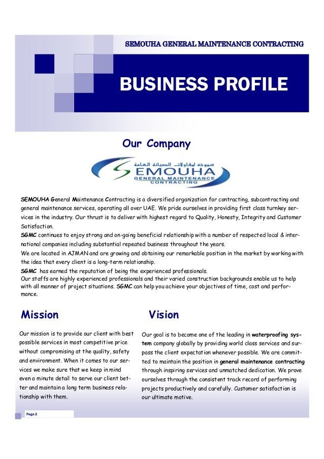 SEMOUHA GENERAL MAINTENANCE CONTRACTING BUSINESS PROFILE; 2.  Business Profiles Samples