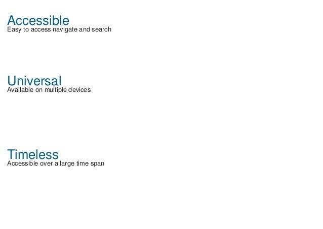 Accessible Easy to access navigate and search Universal Available on multiple devices Timeless Accessible over a large tim...