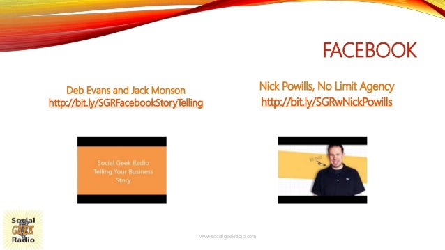 FACEBOOK Deb Evans and Jack Monson http://bit.ly/SGRFacebookStoryTelling Nick Powills, No Limit Agency http://bit.ly/SGRwN...