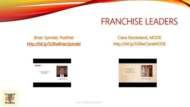 FRANCHISE LEADERS Brian Spindel, PostNet http://bit.ly/SGRwBrianSpindel Ciara Stockeland, MODE http://bit.ly/SGRwCiaraMODE...