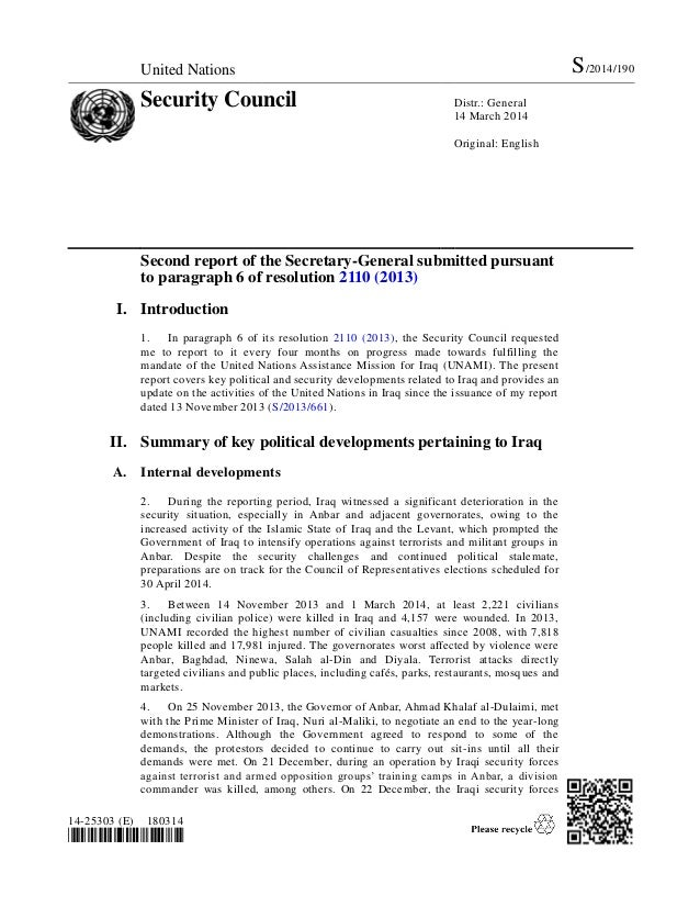 United Nations S/2014/190 Security Council Distr.: General 14 March 2014 Original: English 14-25303 (E) 180314 *1425303* S...