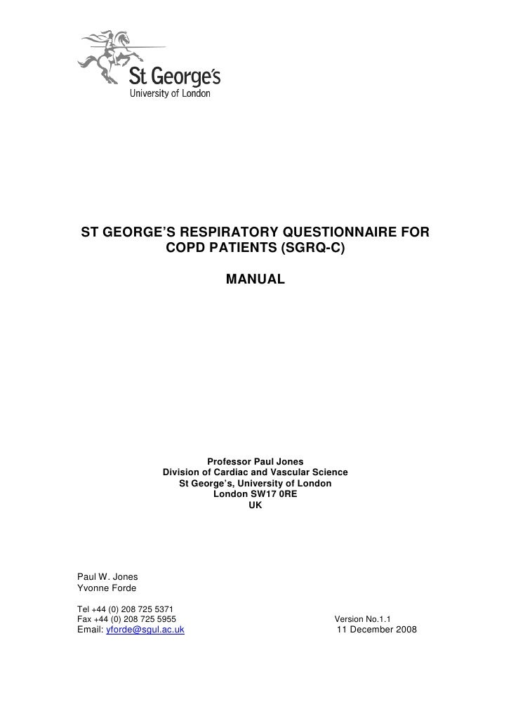 ST GEORGE'S RESPIRATORY QUESTIONNAIRE FOR          COPD PATIENTS (SGRQ-C)                                 MANUAL          ...