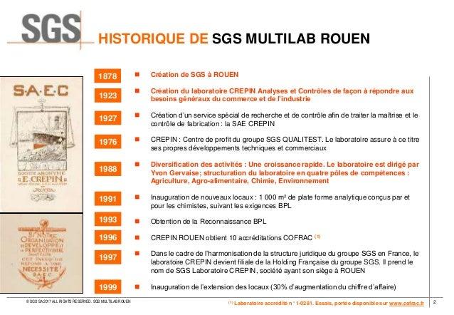 LABORATOIRE SGS - SGS MULTILAB ROUEN 2017 Slide 2