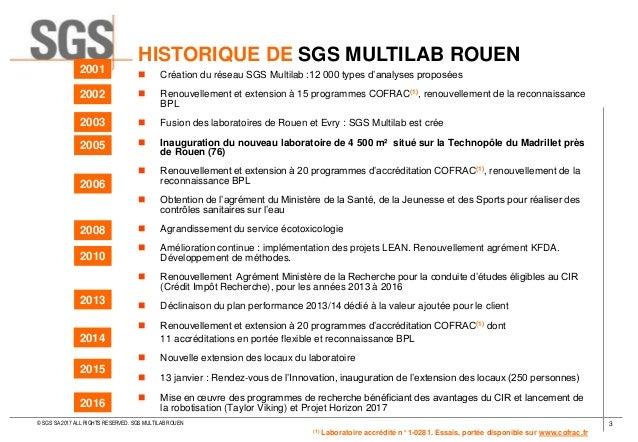LABORATOIRE SGS - SGS MULTILAB ROUEN 2017 Slide 3