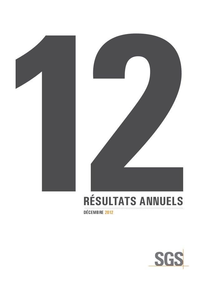 décembre 2012Résultats annuels