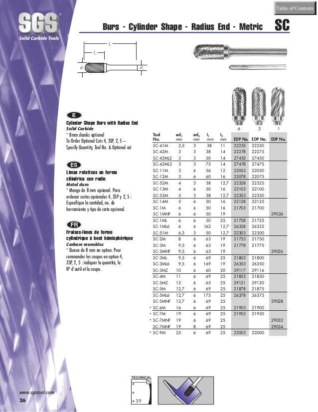 SGS Tool Company 25275 SL-5M Carbide Bur 5//8 Diameter 6mm Shank Diameter