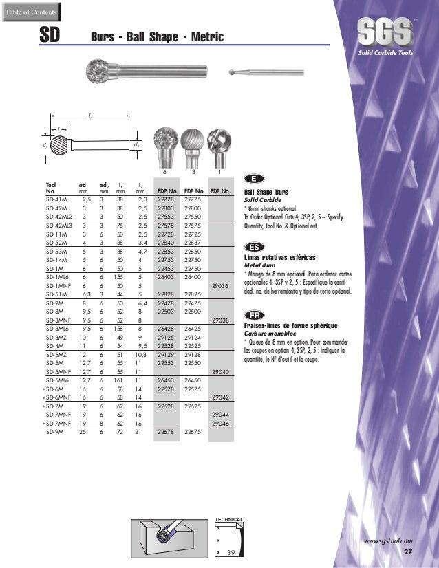 SGS Tool Company 20450 SA-13M Carbide Bur 4mm Diameter 6mm Shank Diameter