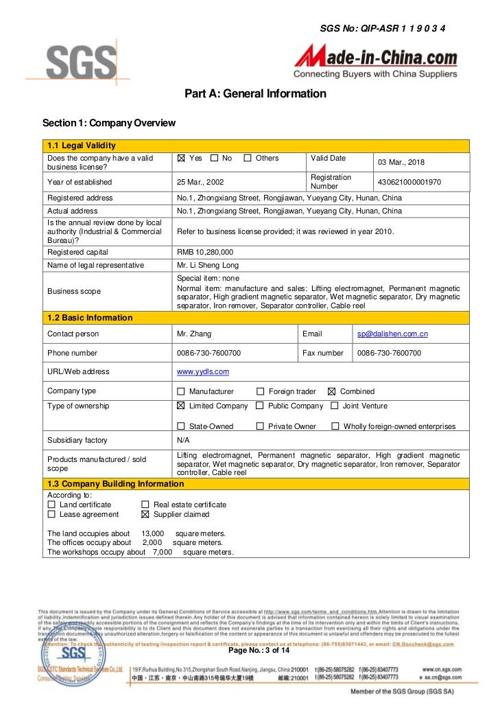 Sample business report format template