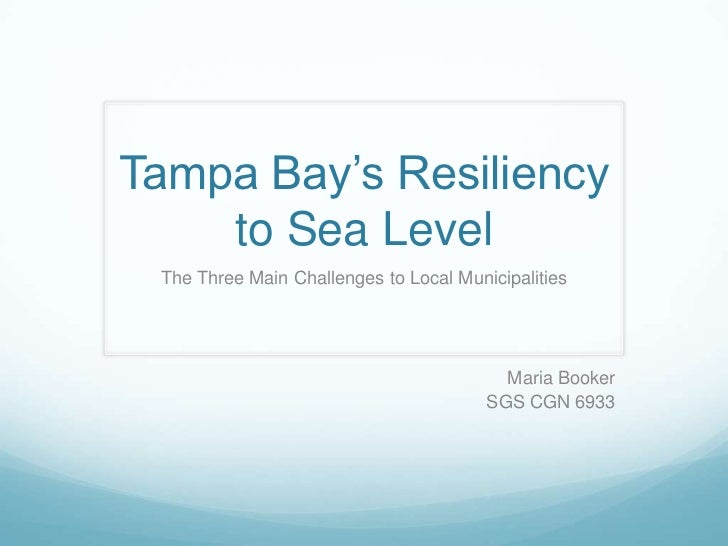 Tampa Bay's Resiliency to Sea Level<br />The Three Main Challenges to Local Municipalities<br />Maria Booker<br />SGS CGN ...
