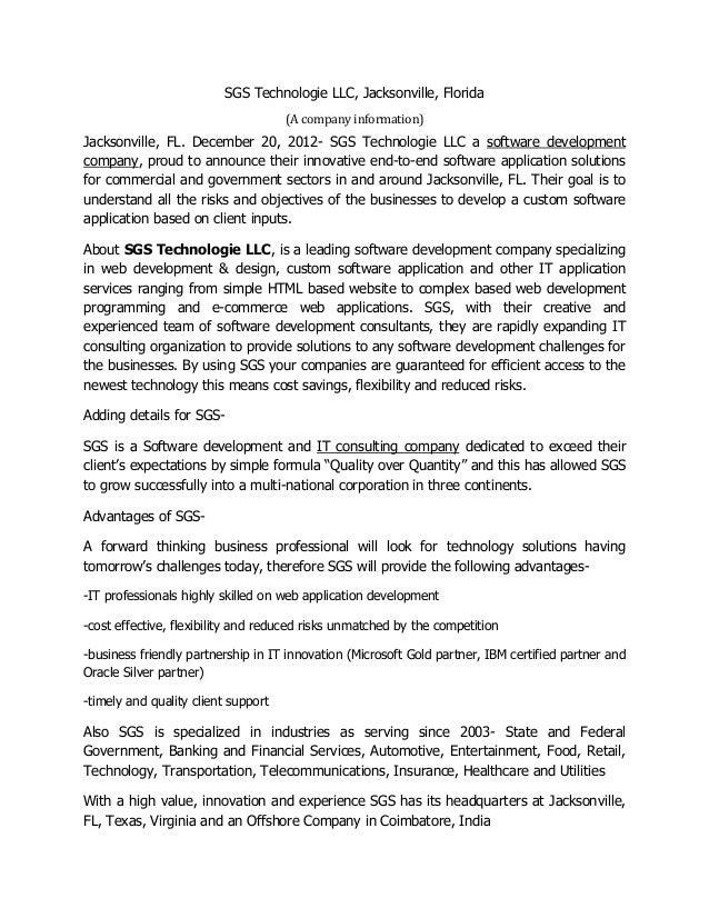 SGS Technologie LLC, Jacksonville, Florida                                     (A company information)Jacksonville, FL. De...