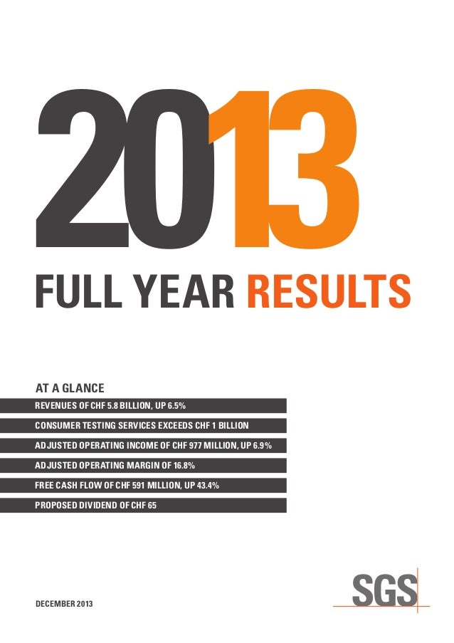 SGS Full Year Results 2013 Report