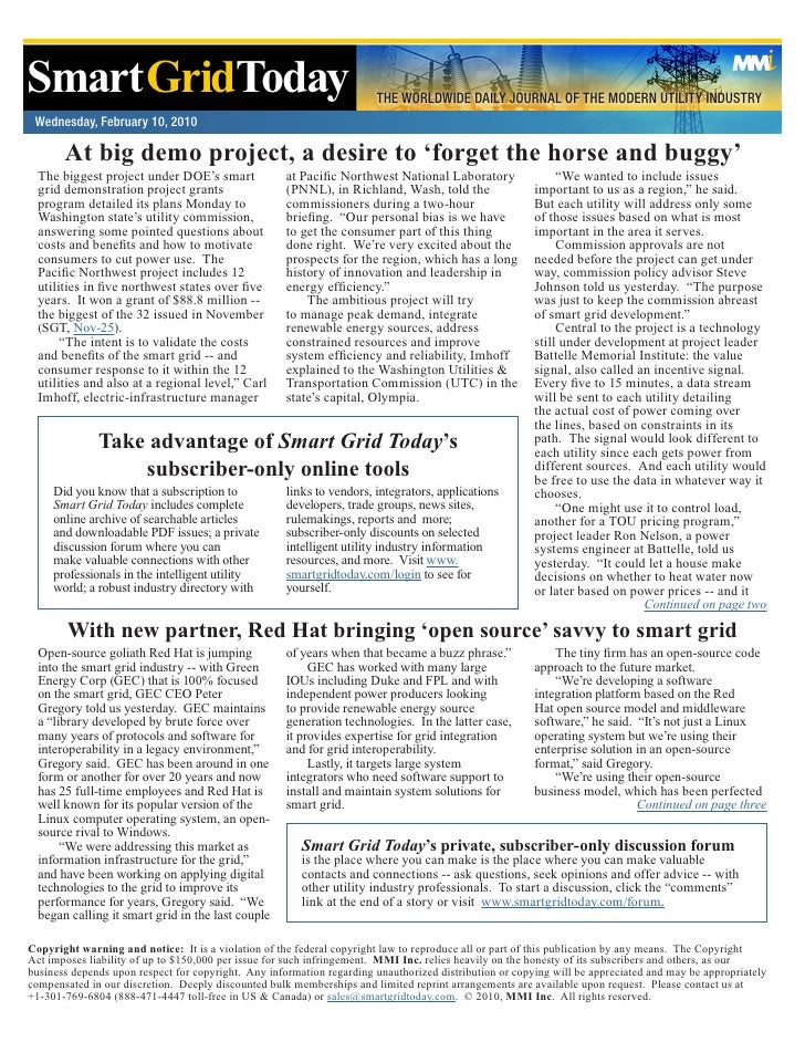 Smart GridToday                                                        THE WORLDWIDE DAILY JOURNAL OF THE MODERN UTILITY I...