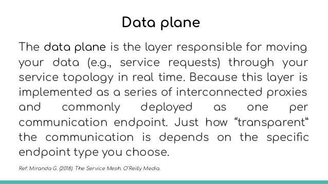 Control plane A control plane exposes new primitives you can use to alter how your services communicate. You use the new p...