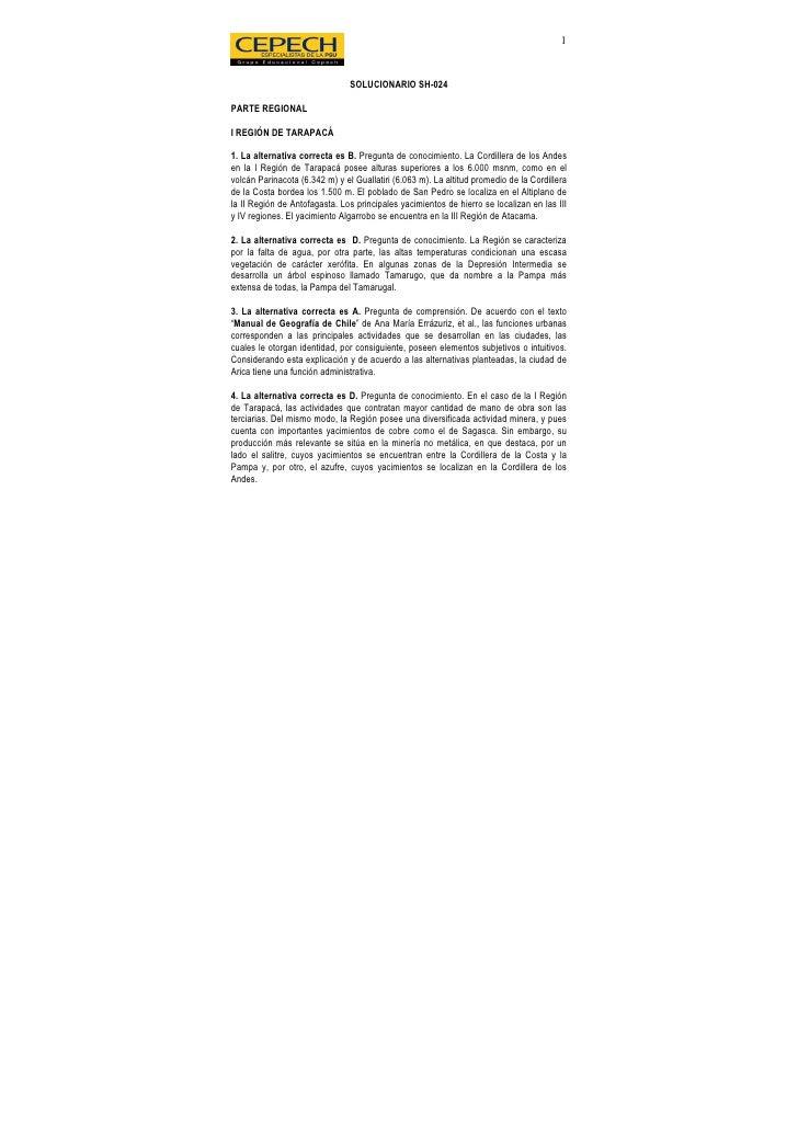 1                                   SOLUCIONARIO SH-024  PARTE REGIONAL  I REGIÓN DE TARAPACÁ  1. La alternativa correcta ...