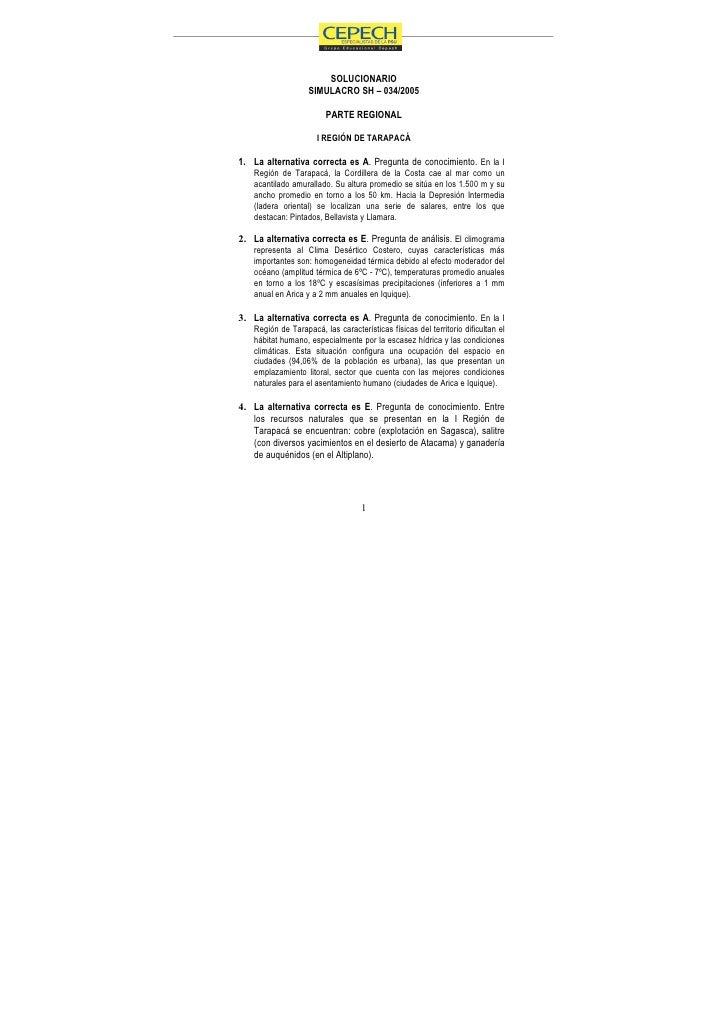 SOLUCIONARIO                    SIMULACRO SH – 034/2005                          PARTE REGIONAL                        I R...