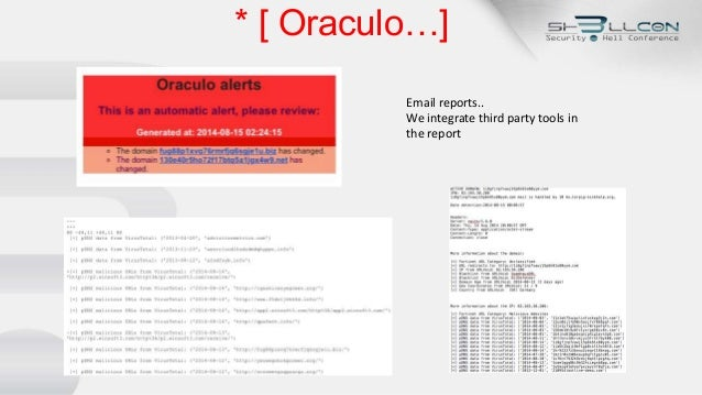 * [ Oraculo…] Email reports.. We integrate third party tools in the report