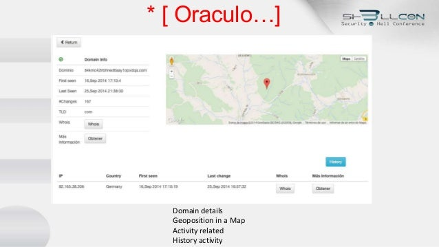 * [ Oraculo…] Domain details Geoposition in a Map Activity related History activity