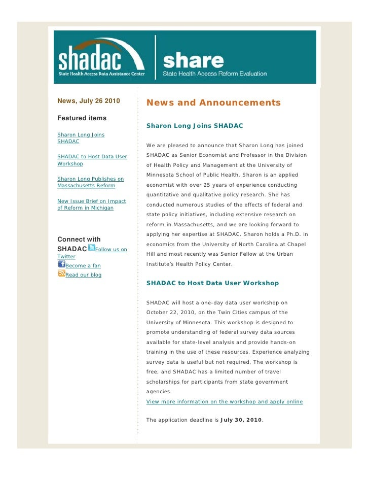 News, July 26 2010          News and Announcements Featured items                             Sharon Long Joins SHADAC Sha...