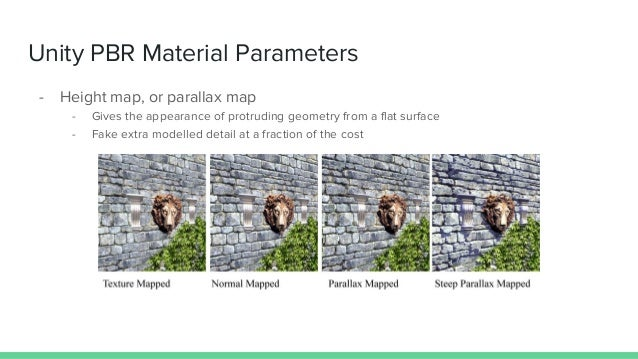 Unity PBR Material Parameters - Height map, or parallax map - Gives the appearance of protruding geometry from a flat surf...