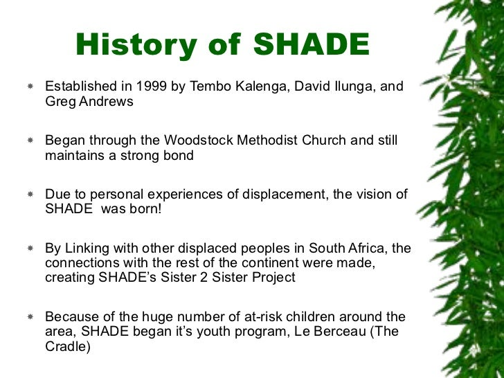 History of SHADE !   Established in 1999 by Tembo Kalenga, David Ilunga, and     Greg Andrews  !   Began through the Woods...