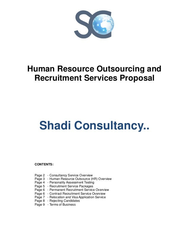 Human Resource Outsourcing Recruitment Services Shadi Consultancy.. CONTENTS: Page 2 - Consultancy Service Overview Page 3...