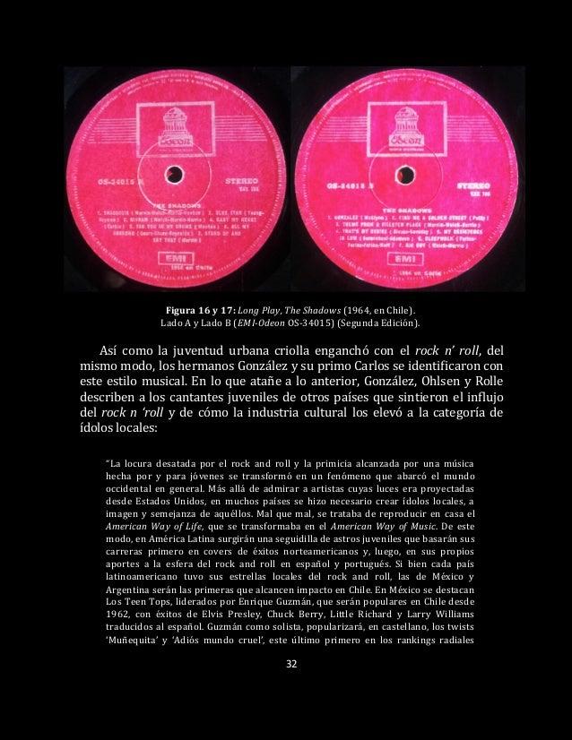 32 Figura 16 y 17: Long Play, The Shadows (1964, en Chile). Lado A y Lado B (EMI-Odeon OS-34015) (Segunda Edición). Así co...