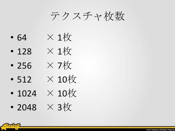 テクスチャ枚数•   64     × 1枚•   128    × 1枚•   256    × 7枚•   512    × 10枚•   1024   × 10枚•   2048   × 3枚