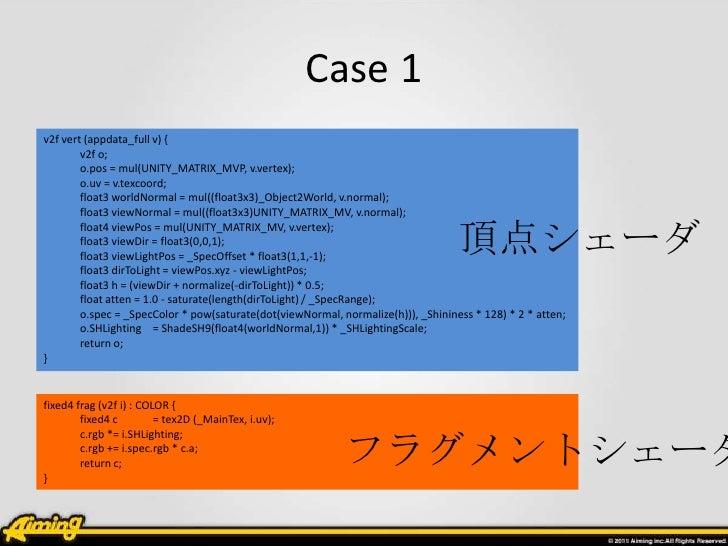Case 1v2f vert (appdata_full v) {        v2f o;        o.pos = mul(UNITY_MATRIX_MVP, v.vertex);        o.uv = v.texcoord; ...