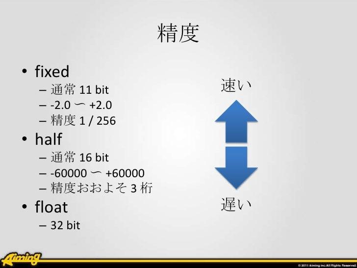 精度• fixed  – 通常 11 bit              速い  – -2.0 〜 +2.0  – 精度 1 / 256• half  – 通常 16 bit  – -60000 〜 +60000  – 精度おおよそ 3 桁• f...